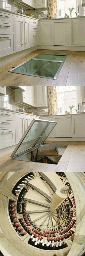 Underground cellar accessed via a trapdoor in the kitchen.