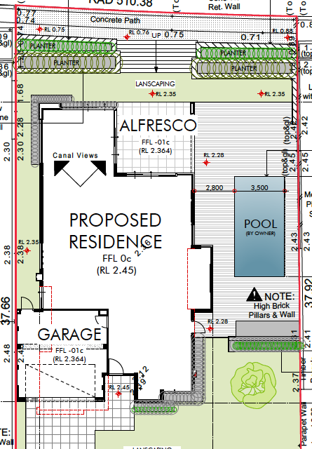 Site plan showing plenty of room to entertain and play outdoors.  There is even room for a veggie patch.