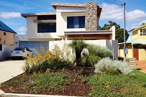 This is how the addition of a column of rock cladding might look.  Picture source: Sustainable Outdoors.