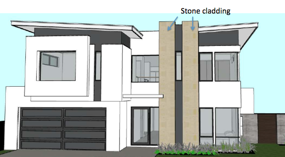 A sketch of the front elevation.  (Colours not indicative.)