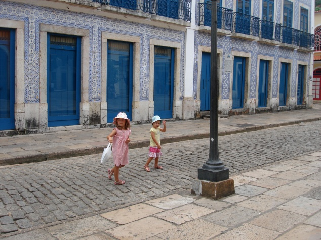 "Two of the little pigs wandering in ""The Tiled City"" of Sao Luis, Brazil."