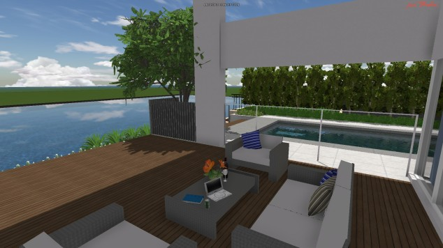 It didn't take our Landscape Architect to figure out his client -  glass of wine and laptop on the deck looking out across the canal.  Tim Davies Landscaping.