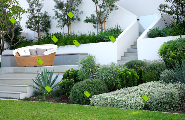 "Fully labelled photo - scroll over tags in ""Houzz"" to see the name of each plant or product.  Landscape design by Secret Gardens, photo via Houzz."
