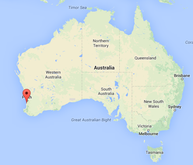 There we are, just 70km South of Perth.