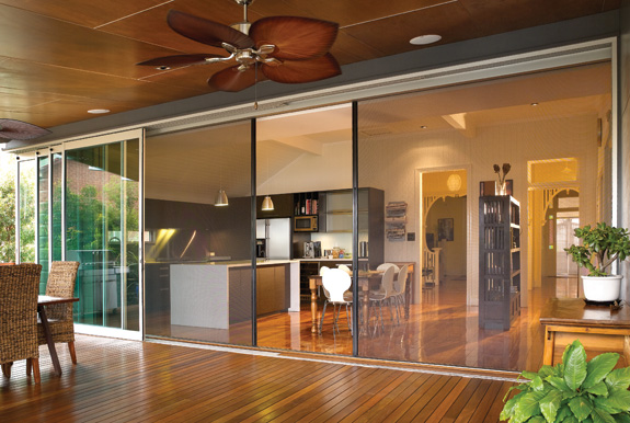 Centor fly screens with stacker doors.
