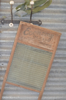 An old washboard hangs in the laundry.