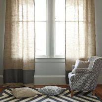 Linen curtains.