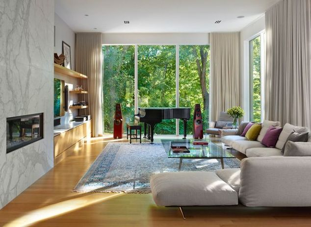 A sofa for appreciating the view.  Source:  Houzz.