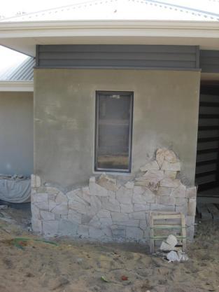 Stonework in progress