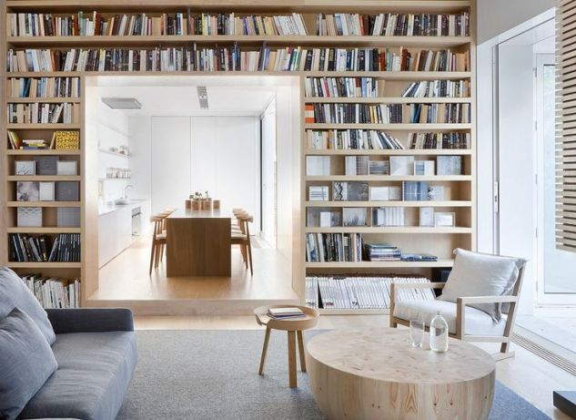 Bookshelves frame doorway