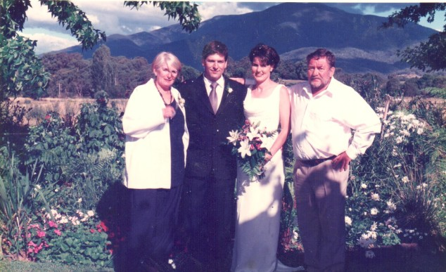 Our wedding - with my husband's parents.