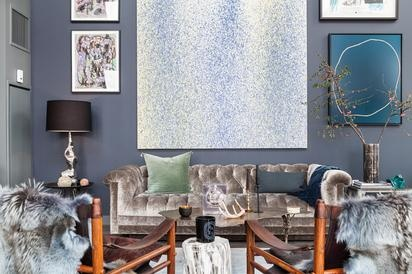 Art wall in New York Apartment.  Image originally found on One Fine Stay.