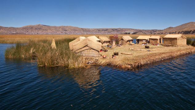Houses on floating reed islands.