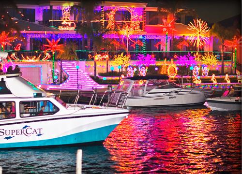 Mandurah canals at Christmas time.  Source:  Mandurah Cruises.