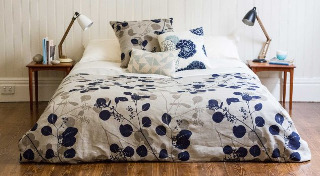 """Silver Gum"" bedding by Ink and Spindle."