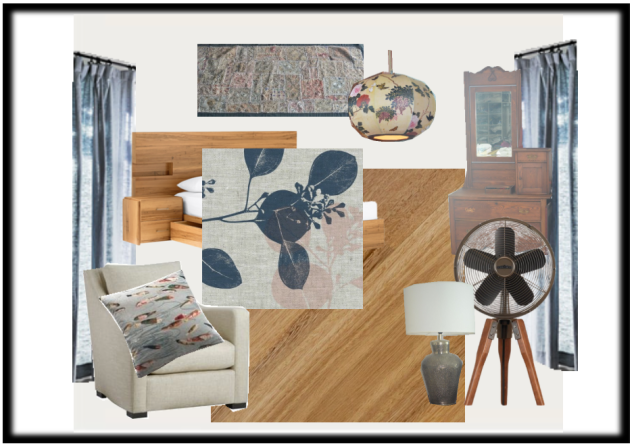 I'm happy with the blues, woods and linen that are starting to form the back bone of my master bedroom grand scheme.