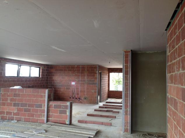 Plasterboard ceiling.