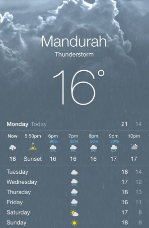 Mandurah weather report.