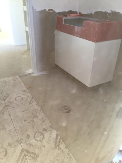 Powder room mat effect tile.