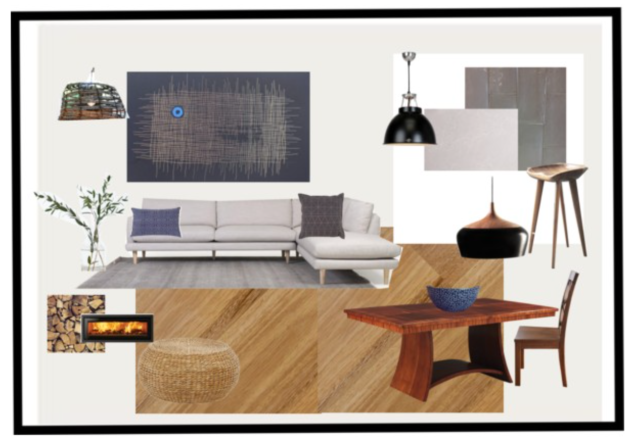 Living area mood board.
