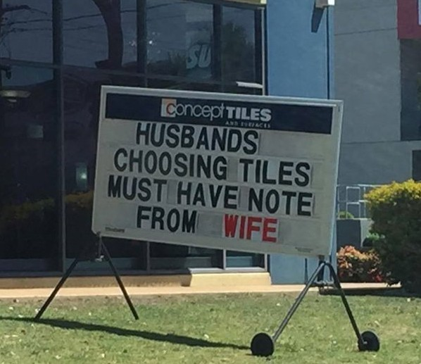Note from wife sign.