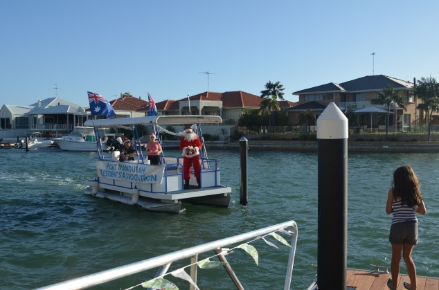 Santa on the canals.