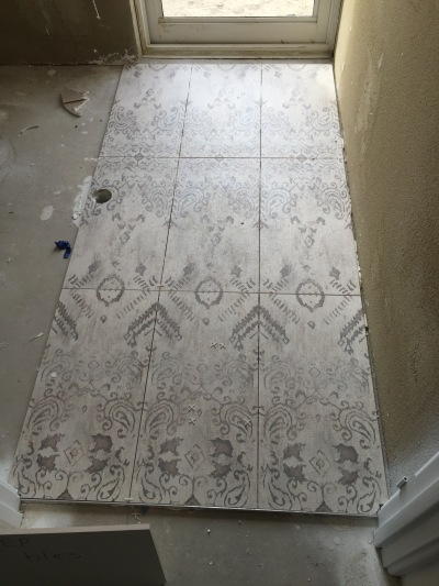 Powder room tiles.