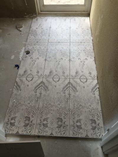 Powder room tiles.