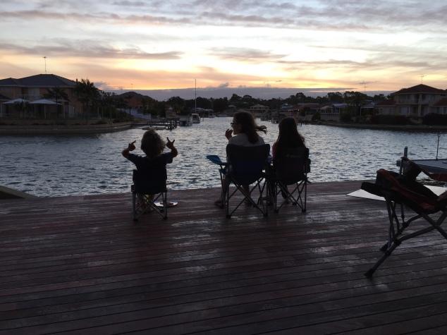 Three Kids at sunset.