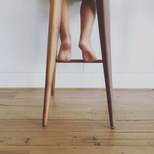 Kitchen floor, tractor stool.