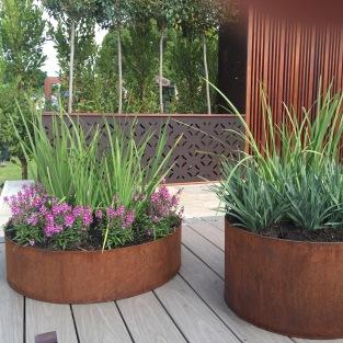 Steel planters.