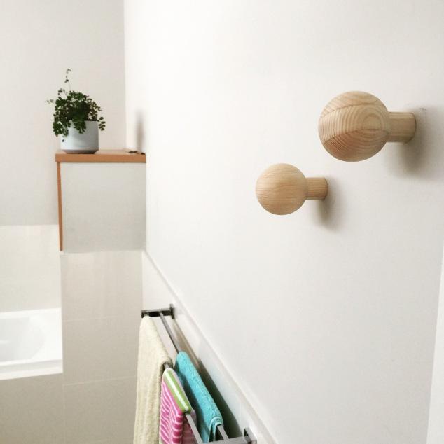 Bathroom hooks.