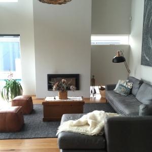 Charcoal rug.